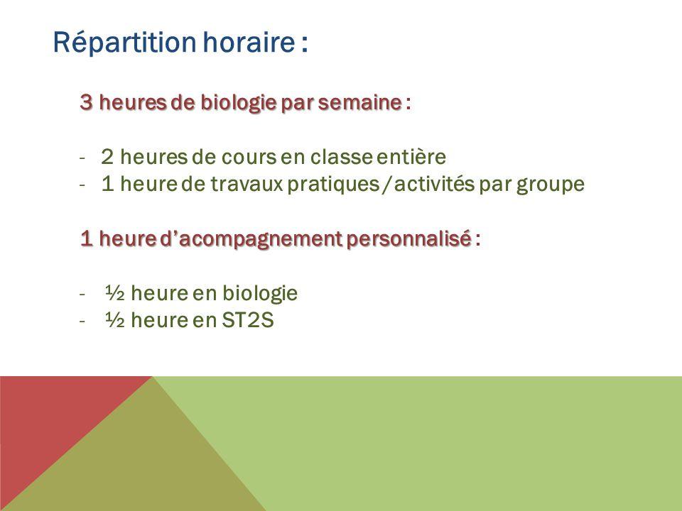 Répartition horaire : 3 heures de biologie par semaine 3 heures de biologie par semaine : -2 heures de cours en classe entière -1 heure de travaux pra