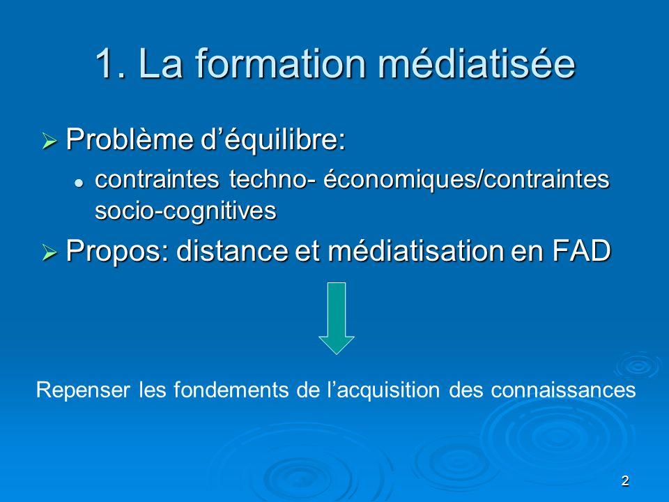 2 1. La formation médiatisée Problème déquilibre: Problème déquilibre: contraintes techno- économiques/contraintes socio-cognitives contraintes techno