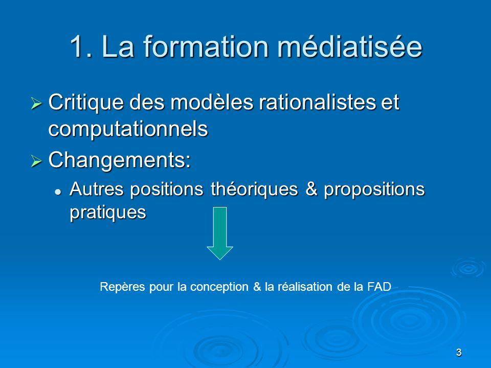 3 1. La formation médiatisée Critique des modèles rationalistes et computationnels Critique des modèles rationalistes et computationnels Changements: