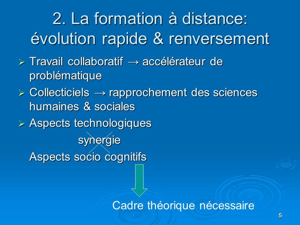 5 2. La formation à distance: évolution rapide & renversement Travail collaboratif accélérateur de problématique Travail collaboratif accélérateur de