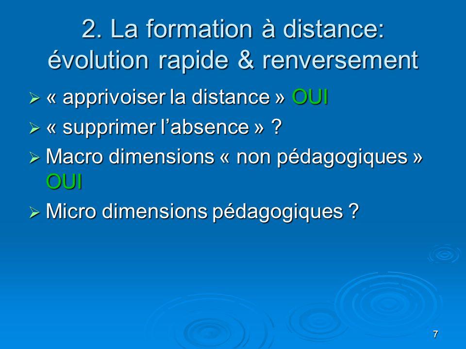 7 2. La formation à distance: évolution rapide & renversement « apprivoiser la distance » OUI « apprivoiser la distance » OUI « supprimer labsence » ?