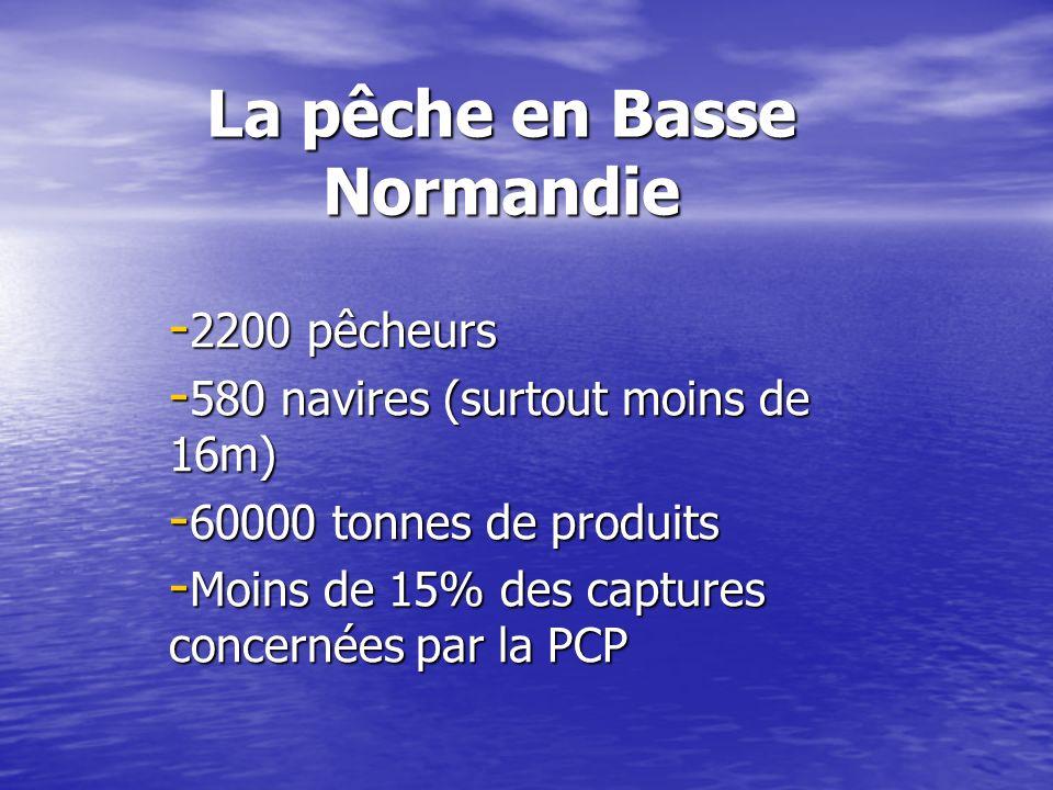 La pêche en Basse Normandie - 2200 pêcheurs - 580 navires (surtout moins de 16m) - 60000 tonnes de produits - Moins de 15% des captures concernées par