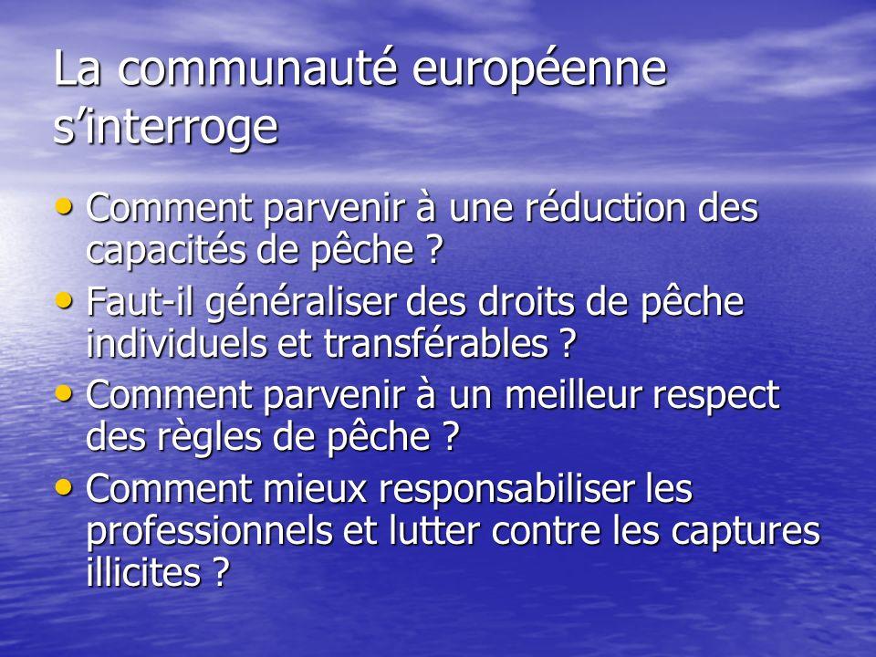 La communauté européenne sinterroge Comment parvenir à une réduction des capacités de pêche ? Comment parvenir à une réduction des capacités de pêche