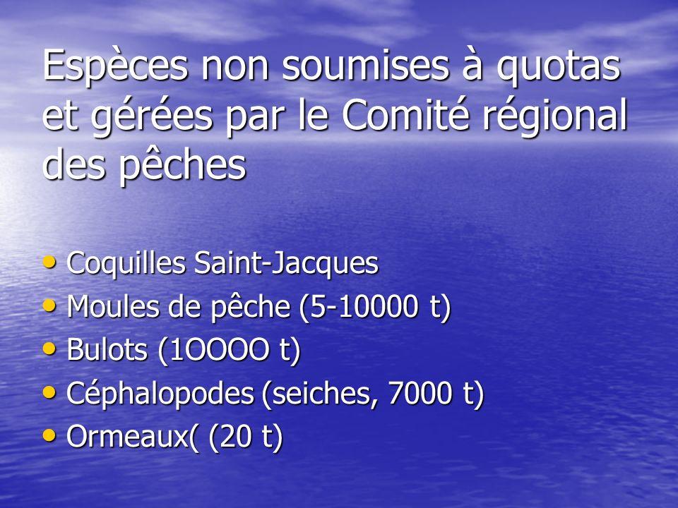 Espèces non soumises à quotas et gérées par le Comité régional des pêches Coquilles Saint-Jacques Coquilles Saint-Jacques Moules de pêche (5-10000 t)