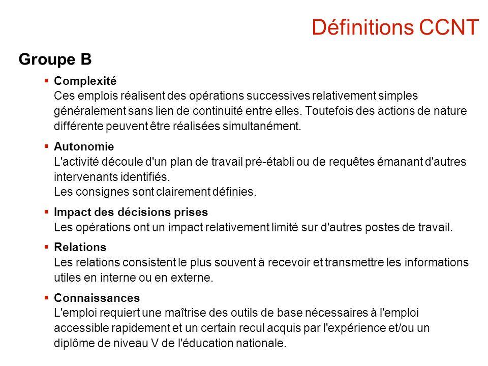 Définitions CCNT Groupe B Complexité Ces emplois réalisent des opérations successives relativement simples généralement sans lien de continuité entre