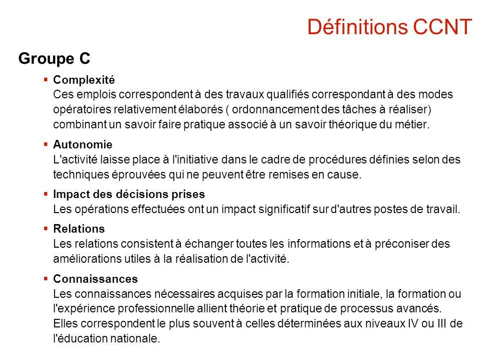 Définitions CCNT Groupe C Complexité Ces emplois correspondent à des travaux qualifiés correspondant à des modes opératoires relativement élaborés ( o