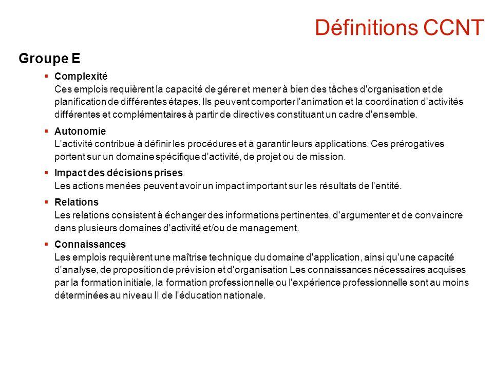 Définitions CCNT Groupe E Complexité Ces emplois requièrent la capacité de gérer et mener à bien des tâches d'organisation et de planification de diff