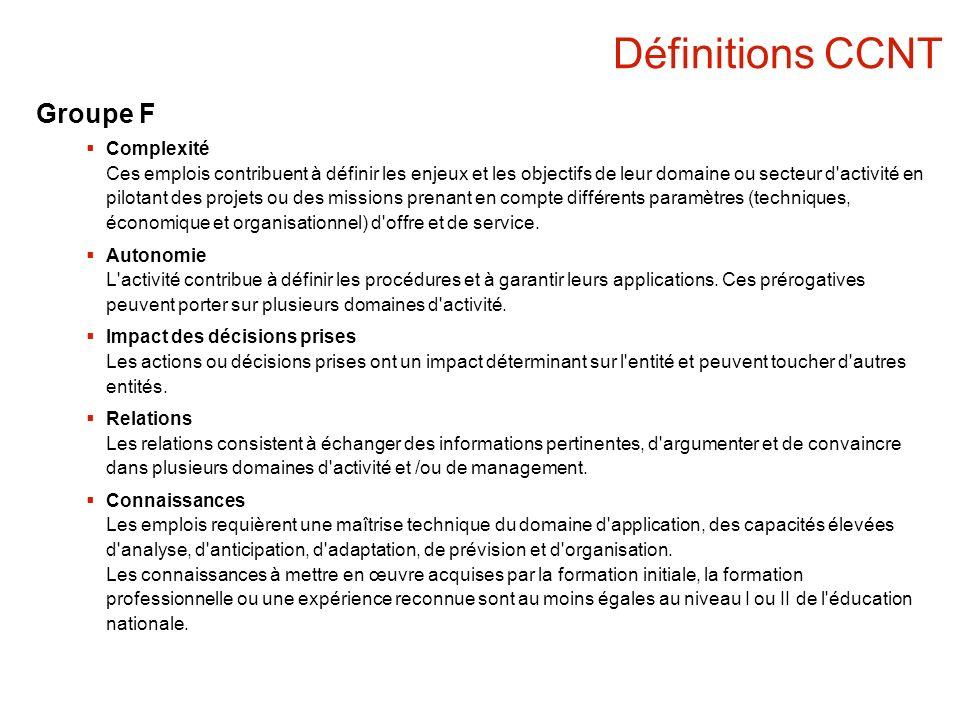 Définitions CCNT Groupe F Complexité Ces emplois contribuent à définir les enjeux et les objectifs de leur domaine ou secteur d activité en pilotant des projets ou des missions prenant en compte différents paramètres (techniques, économique et organisationnel) d offre et de service.