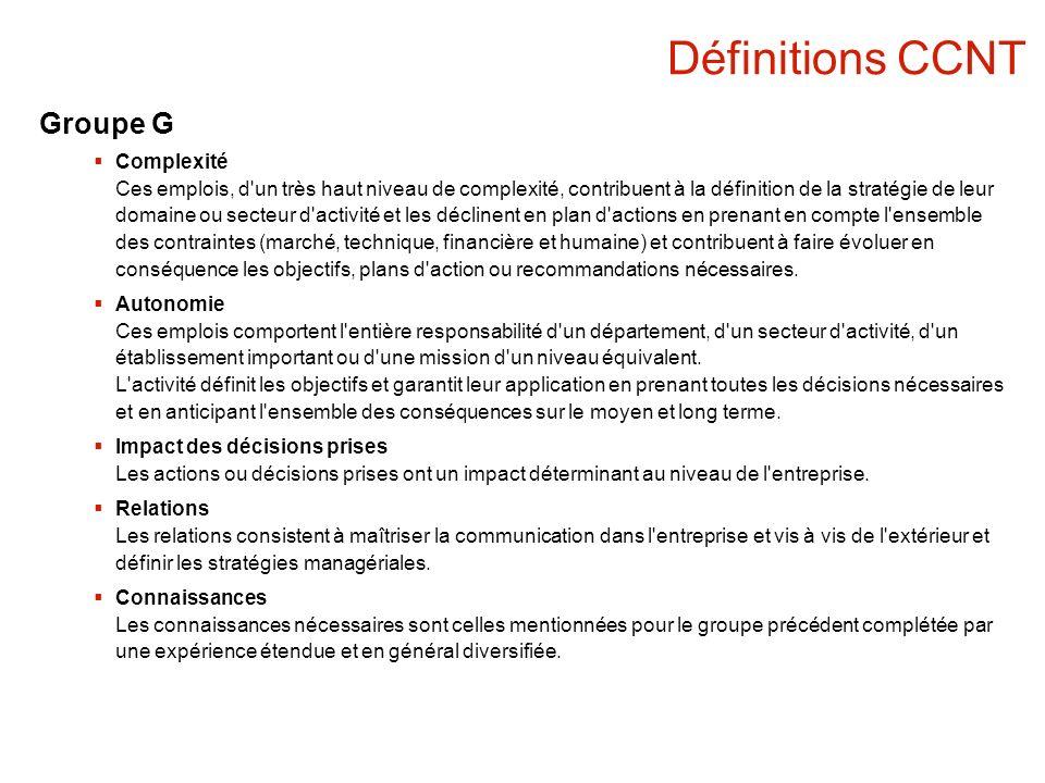 Définitions CCNT Groupe G Complexité Ces emplois, d'un très haut niveau de complexité, contribuent à la définition de la stratégie de leur domaine ou