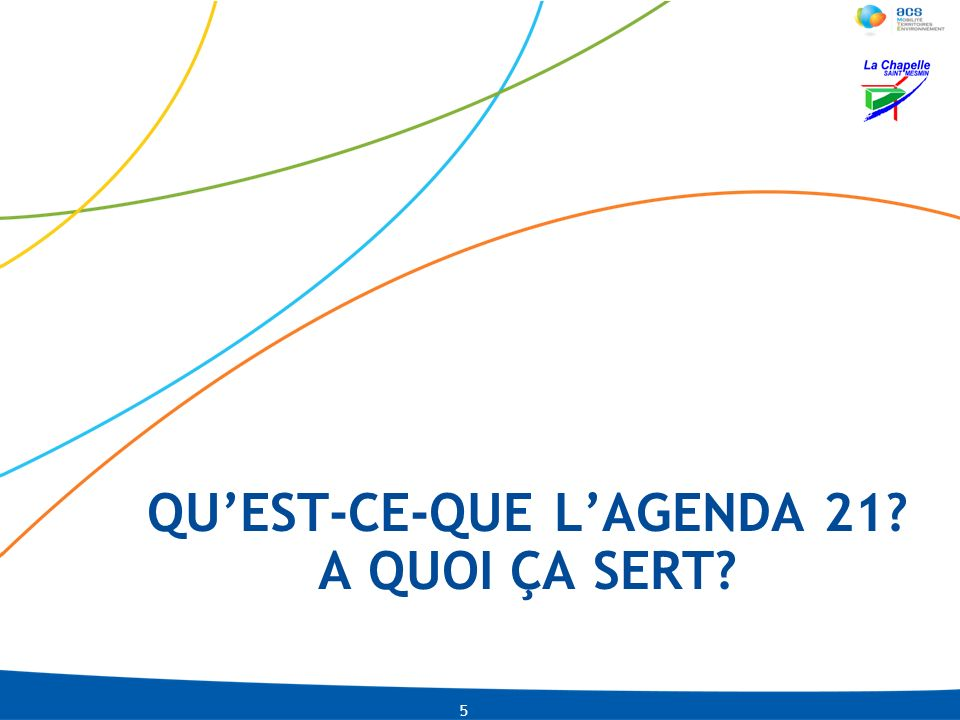LNI-CMLACO-13-01-2009 PRE-0002-IDU04-2010 Lagenda 21 6 « Agenda », du latin « programme », qui signifie « ce qui doit être fait » « 21 » pour « 21 ème siècle » Cest donc lélaboration dun programme dactions pour répondre localement aux enjeux globaux.