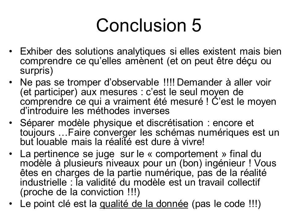 Conclusion 5 Exhiber des solutions analytiques si elles existent mais bien comprendre ce quelles amènent (et on peut être déçu ou surpris) Ne pas se t