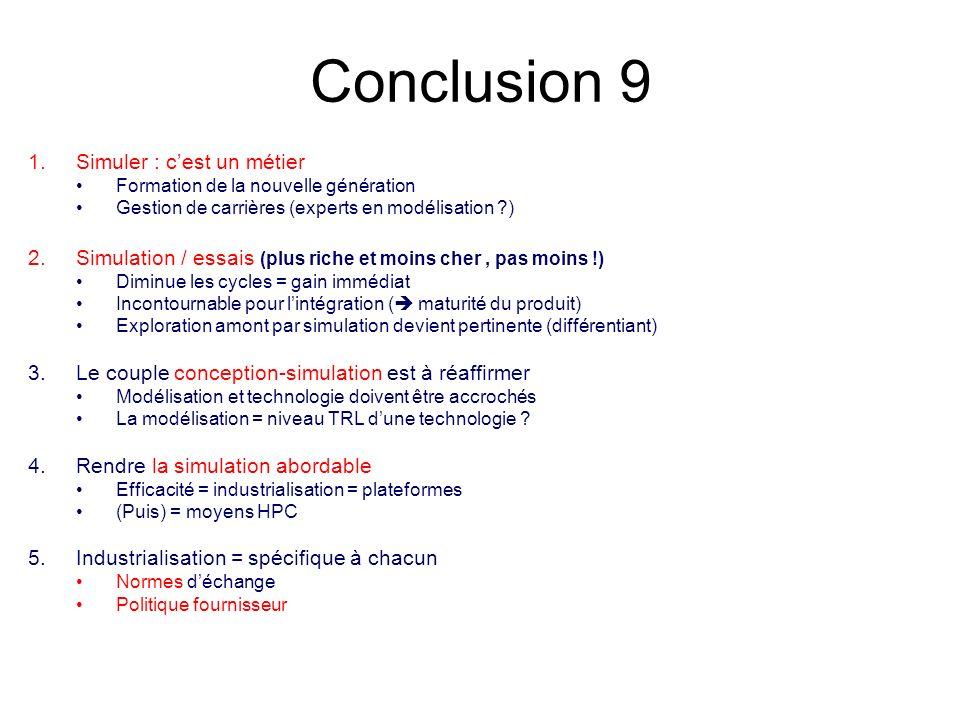 Conclusion 9 1.Simuler : cest un métier Formation de la nouvelle génération Gestion de carrières (experts en modélisation ?) 2.Simulation / essais (plus riche et moins cher, pas moins !) Diminue les cycles = gain immédiat Incontournable pour lintégration ( maturité du produit) Exploration amont par simulation devient pertinente (différentiant) 3.Le couple conception-simulation est à réaffirmer Modélisation et technologie doivent être accrochés La modélisation = niveau TRL dune technologie .