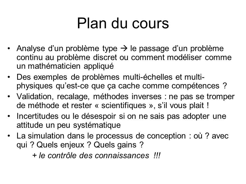 Plan du cours Analyse dun problème type le passage dun problème continu au problème discret ou comment modéliser comme un mathématicien appliqué Des exemples de problèmes multi-échelles et multi- physiques quest-ce que ça cache comme compétences .