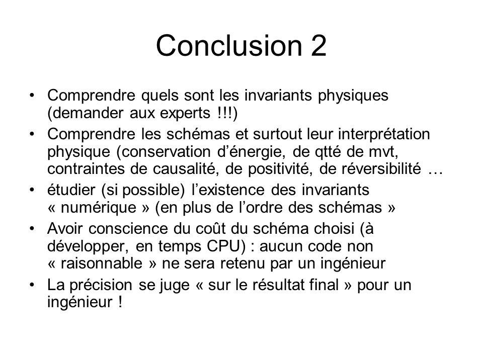Conclusion 2 Comprendre quels sont les invariants physiques (demander aux experts !!!) Comprendre les schémas et surtout leur interprétation physique