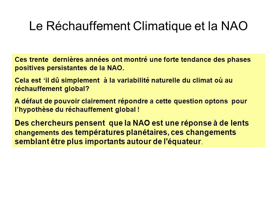 Le Réchauffement Climatique et la NAO Ces trente dernières années ont montré une forte tendance des phases positives persistantes de la NAO. Cela est