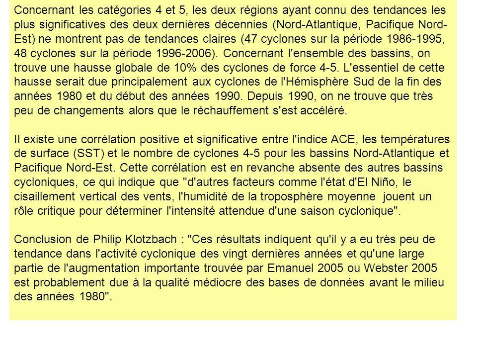 Concernant les catégories 4 et 5, les deux régions ayant connu des tendances les plus significatives des deux dernières décennies (Nord-Atlantique, Pa