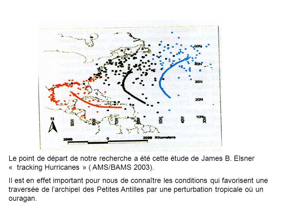 Le point de départ de notre recherche a été cette étude de James B. Elsner « tracking Hurricanes » ( AMS/BAMS 2003). Il est en effet important pour no