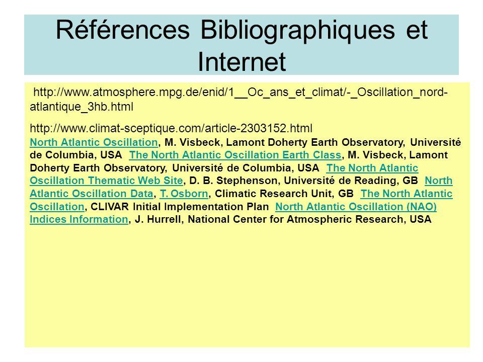 Références Bibliographiques et Internet http://www.atmosphere.mpg.de/enid/1__Oc_ans_et_climat/-_Oscillation_nord- atlantique_3hb.html http://www.clima