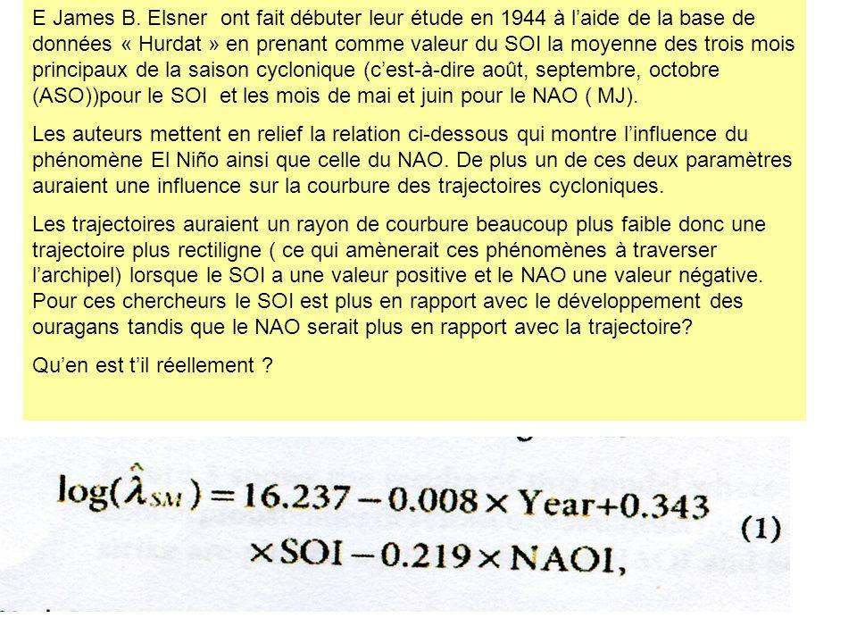 Autres tentatives danalyses effectuées à partir de la base Hurdat, des valeurs du SOI, NAO et la température moyenne dune zone océanique sur 104 ans Summary statistics: Variabl e Categorie s Frequenci es% nombre03129,808 13331,731 22423,077 31211,538 443,846 On analyse 104 cas de 1889 à 2002 (manque de renseignements à partir de 2003).