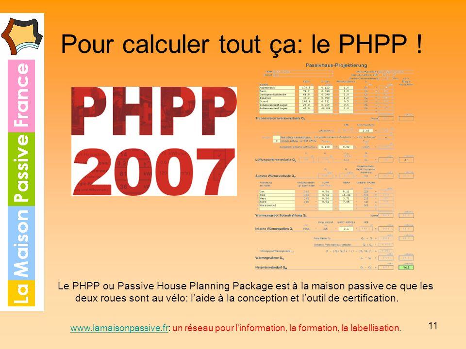 11 Pour calculer tout ça: le PHPP ! Le PHPP ou Passive House Planning Package est à la maison passive ce que les deux roues sont au vélo: laide à la c