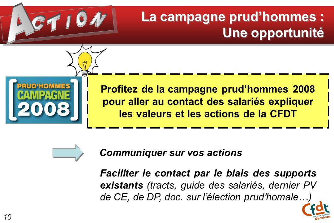 Profitez de la campagne prudhommes 2008 pour aller au contact des salariés expliquer les valeurs et les actions de la CFDT La campagne prudhommes : Un