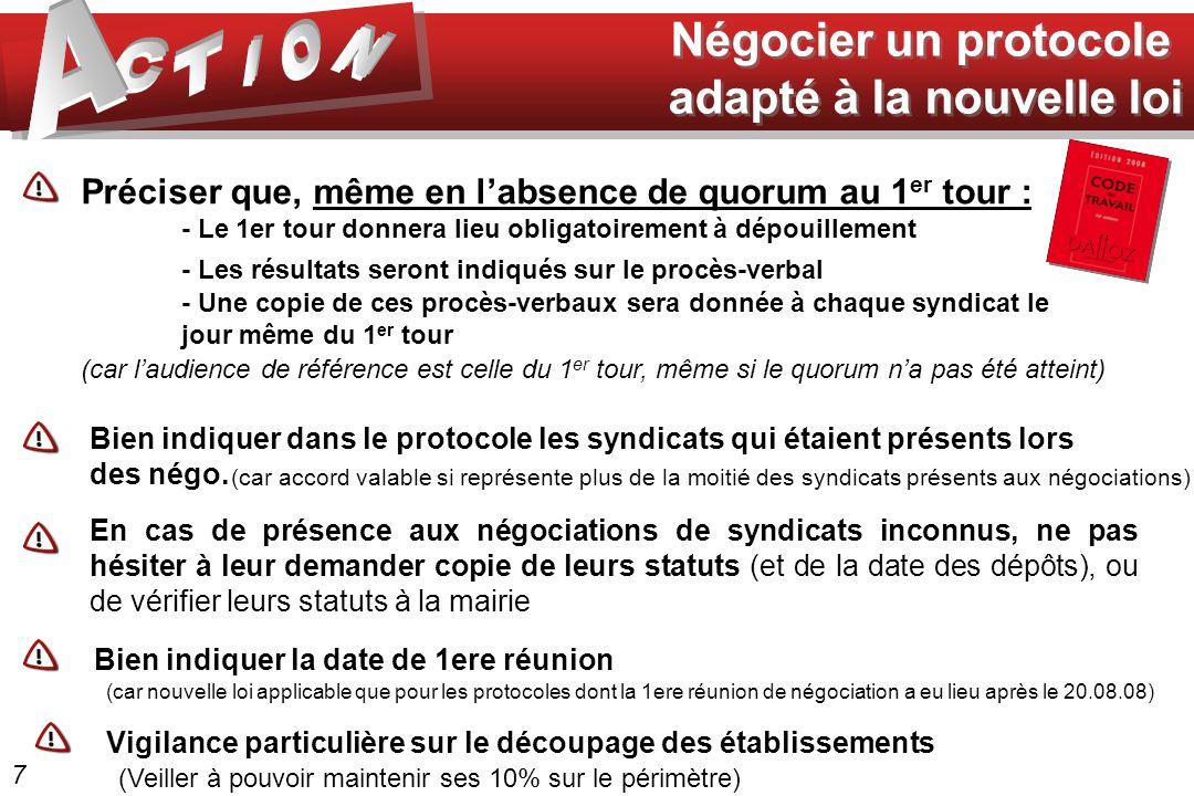 Négocier un protocole adapté à la nouvelle loi Négocier un protocole adapté à la nouvelle loi Préciser que, même en labsence de quorum au 1 er tour :
