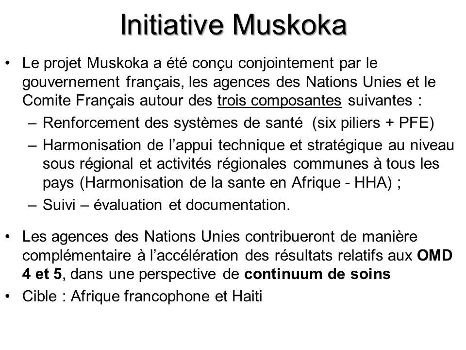 Initiative Muskoka Le projet Muskoka a été conçu conjointement par le gouvernement français, les agences des Nations Unies et le Comite Français autour des trois composantes suivantes : –Renforcement des systèmes de santé (six piliers + PFE) –Harmonisation de lappui technique et stratégique au niveau sous régional et activités régionales communes à tous les pays (Harmonisation de la sante en Afrique - HHA) ; –Suivi – évaluation et documentation.