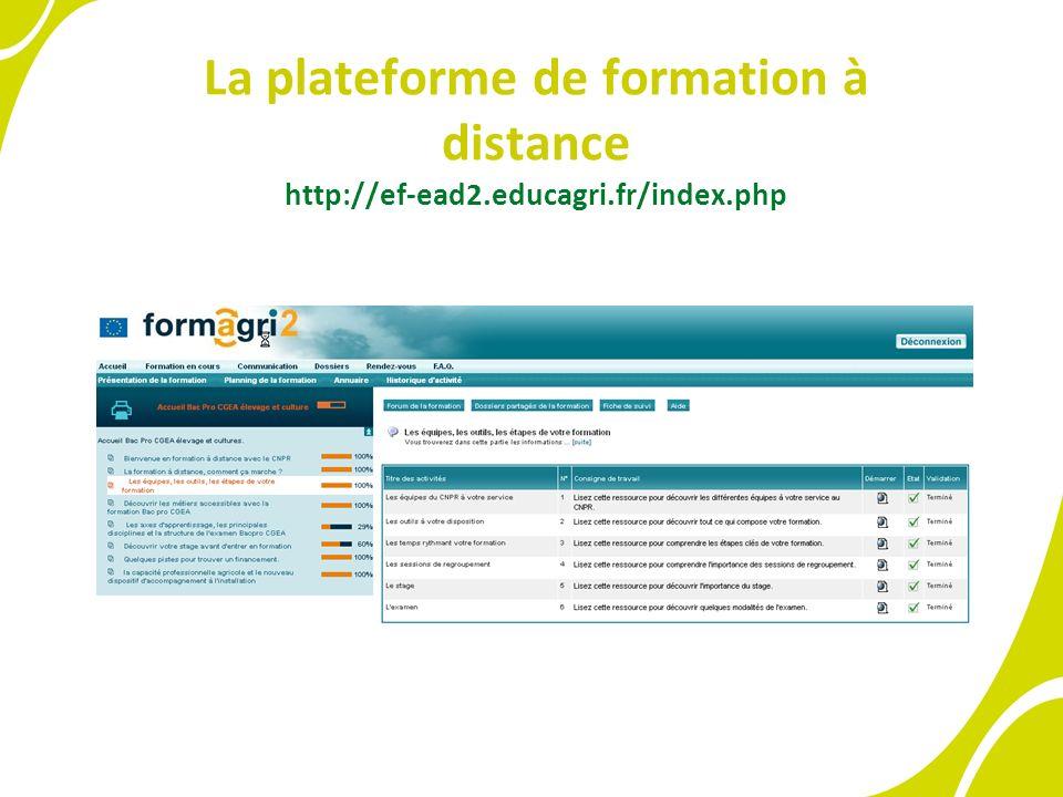 La plateforme de formation à distance http://ef-ead2.educagri.fr/index.php