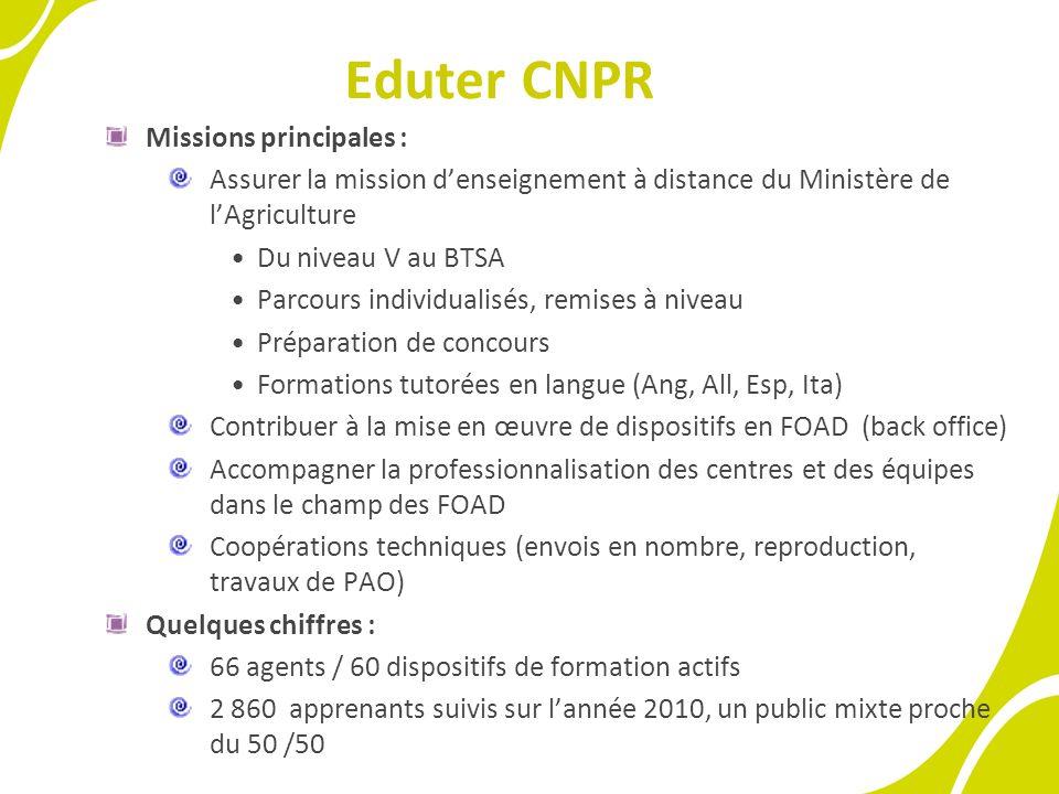 Eduter CNPR Missions principales : Assurer la mission denseignement à distance du Ministère de lAgriculture Du niveau V au BTSA Parcours individualisé