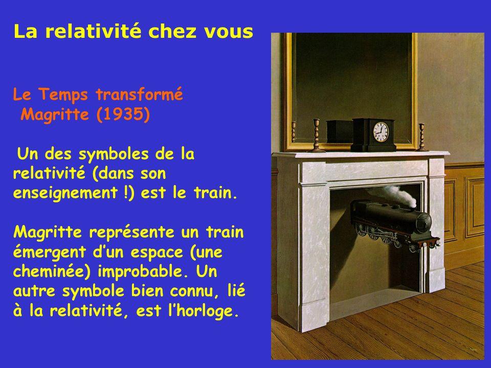 Le Temps transformé Magritte (1935) Un des symboles de la relativité (dans son enseignement !) est le train. Magritte représente un train émergent dun