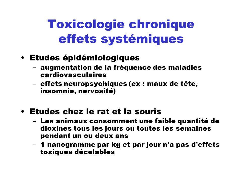 Toxicologie chronique effets systémiques Etudes épidémiologiques –augmentation de la fréquence des maladies cardiovasculaires –effets neuropsychiques