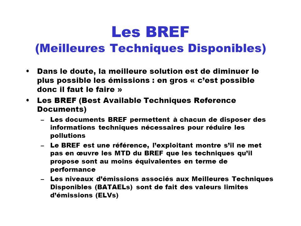 Les BREF (Meilleures Techniques Disponibles) Dans le doute, la meilleure solution est de diminuer le plus possible les émissions : en gros « cest poss