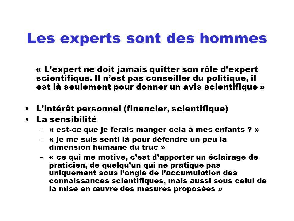 Les experts sont des hommes « Lexpert ne doit jamais quitter son rôle dexpert scientifique. Il nest pas conseiller du politique, il est là seulement p