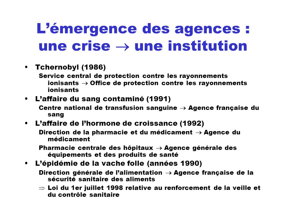 Lémergence des agences : une crise une institution Tchernobyl (1986) Service central de protection contre les rayonnements ionisants Office de protect