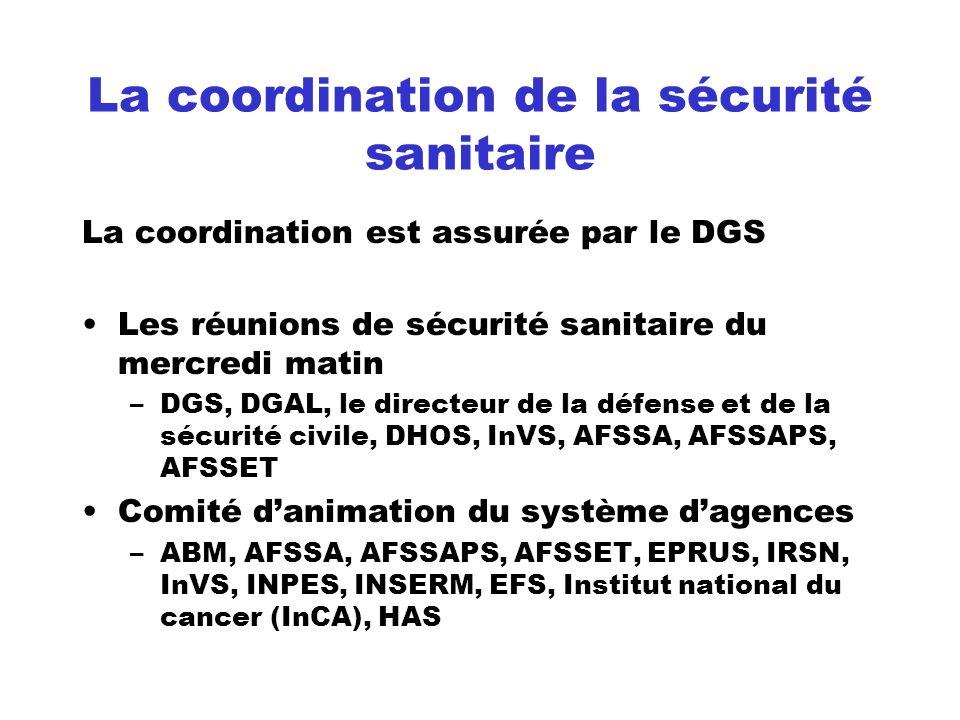 La coordination de la sécurité sanitaire La coordination est assurée par le DGS Les réunions de sécurité sanitaire du mercredi matin –DGS, DGAL, le di