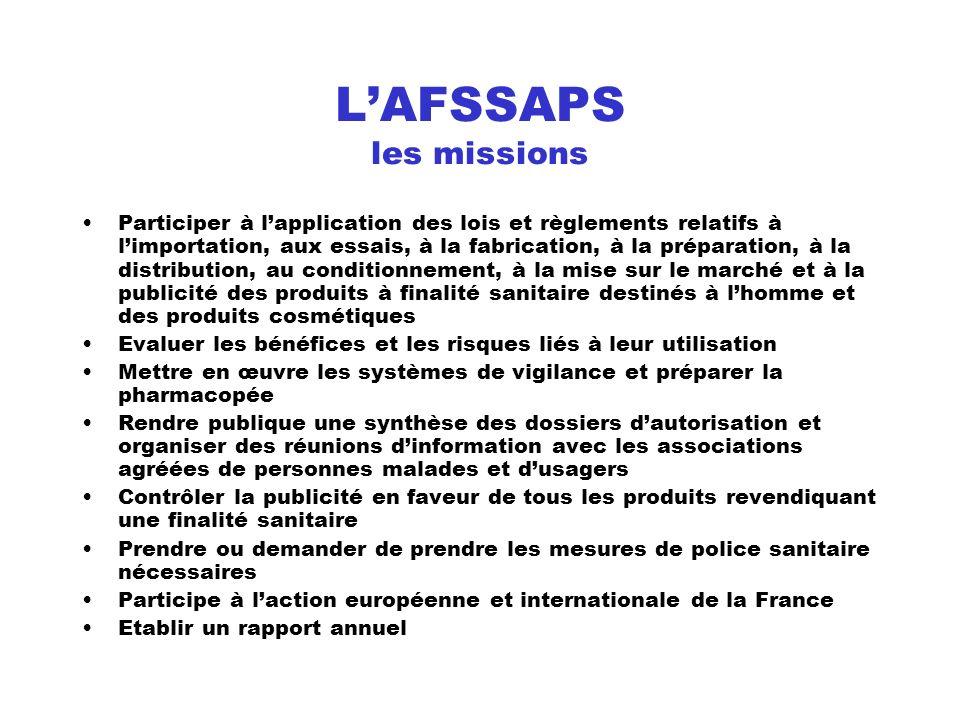 LAFSSAPS les missions Participer à lapplication des lois et règlements relatifs à limportation, aux essais, à la fabrication, à la préparation, à la d