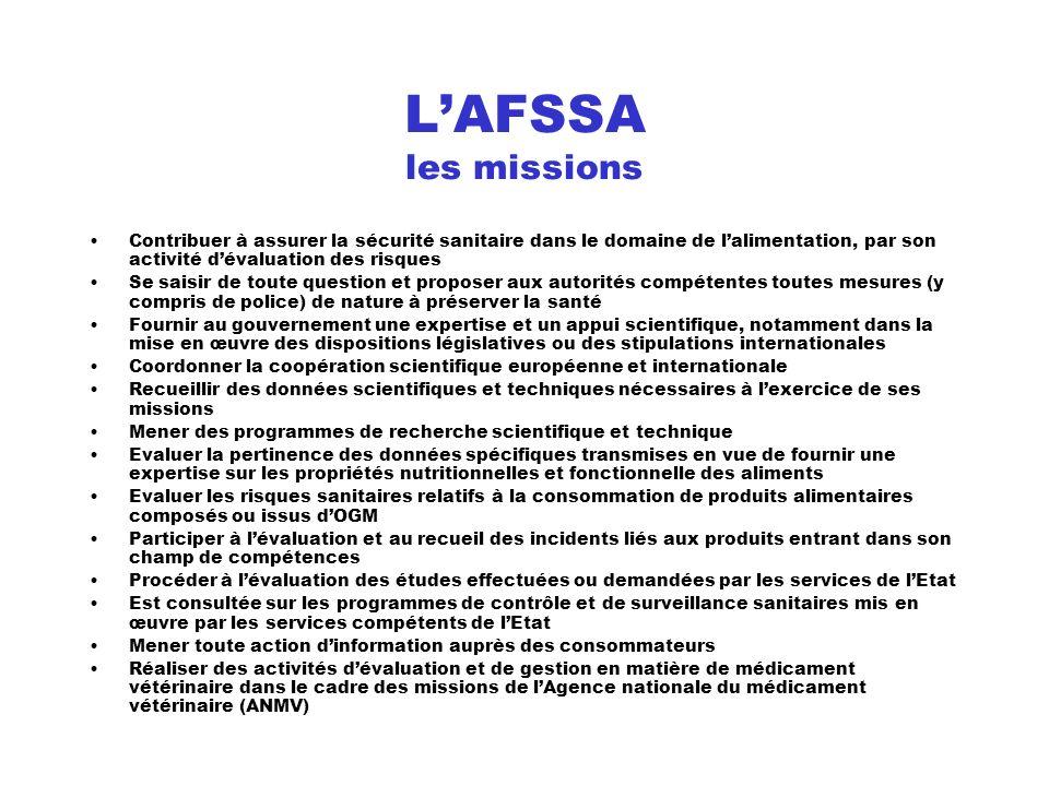 LAFSSA les missions Contribuer à assurer la sécurité sanitaire dans le domaine de lalimentation, par son activité dévaluation des risques Se saisir de