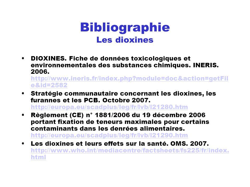 Bibliographie Les dioxines DIOXINES. Fiche de données toxicologiques et environnementales des substances chimiques. INERIS. 2006. http://www.ineris.fr