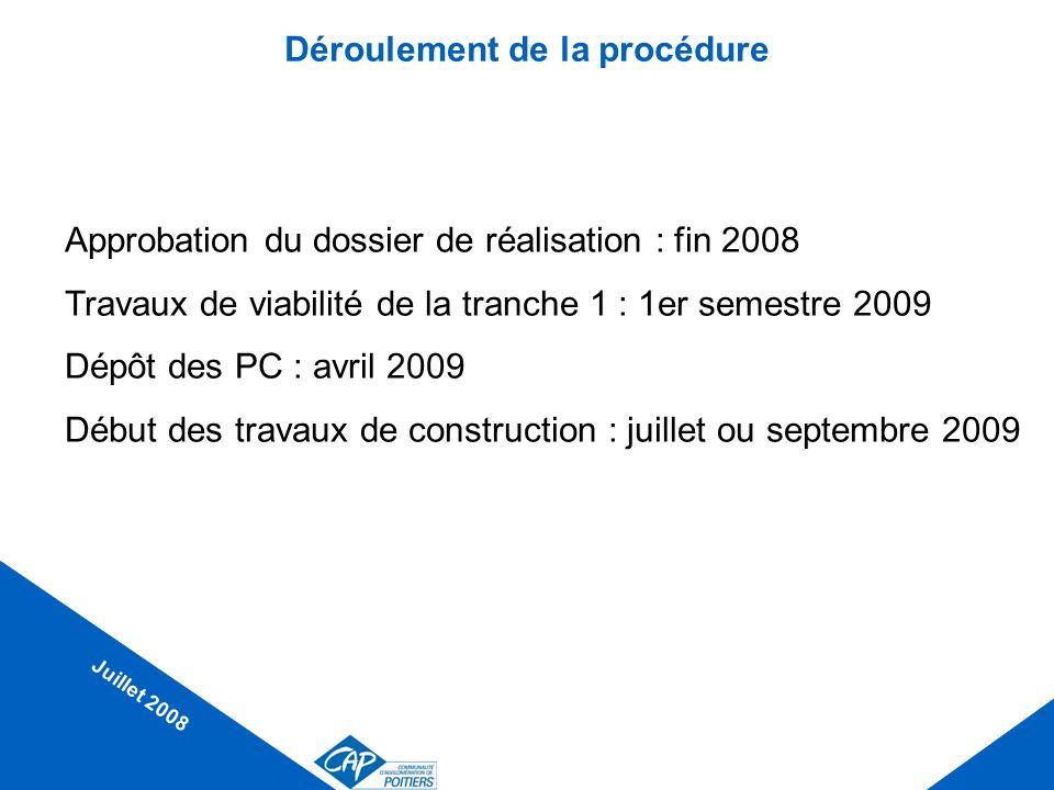 Déroulement de la procédure Approbation du dossier de réalisation : fin 2008 Travaux de viabilité de la tranche 1 : 1er semestre 2009 Dépôt des PC : a