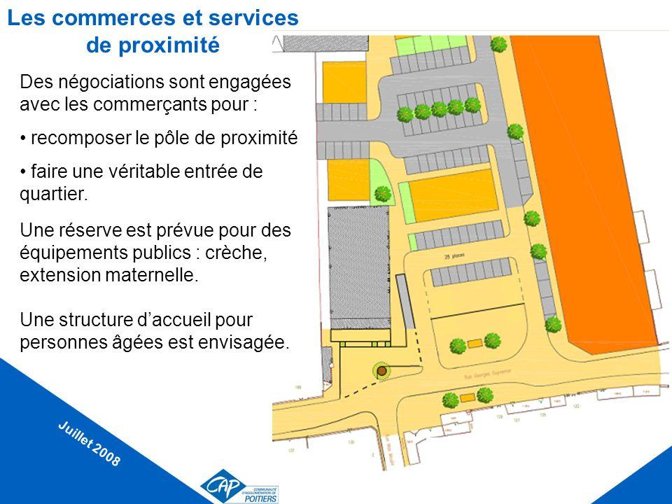 Les commerces et services de proximité Juillet 2008 Des négociations sont engagées avec les commerçants pour : recomposer le pôle de proximité faire u