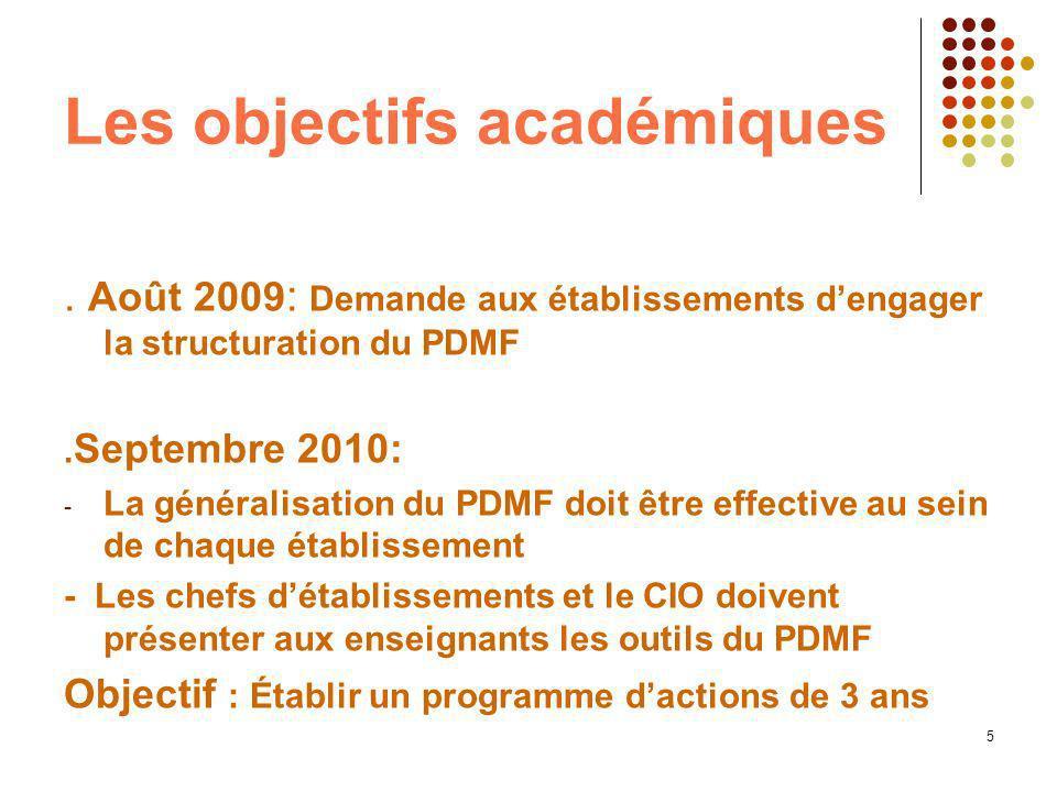 5 Les objectifs académiques. Août 2009 : Demande aux établissements dengager la structuration du PDMF. Septembre 2010: - La généralisation du PDMF doi
