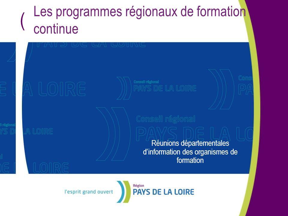 ( Les programmes régionaux de formation continue Réunions départementales dinformation des organismes de formation