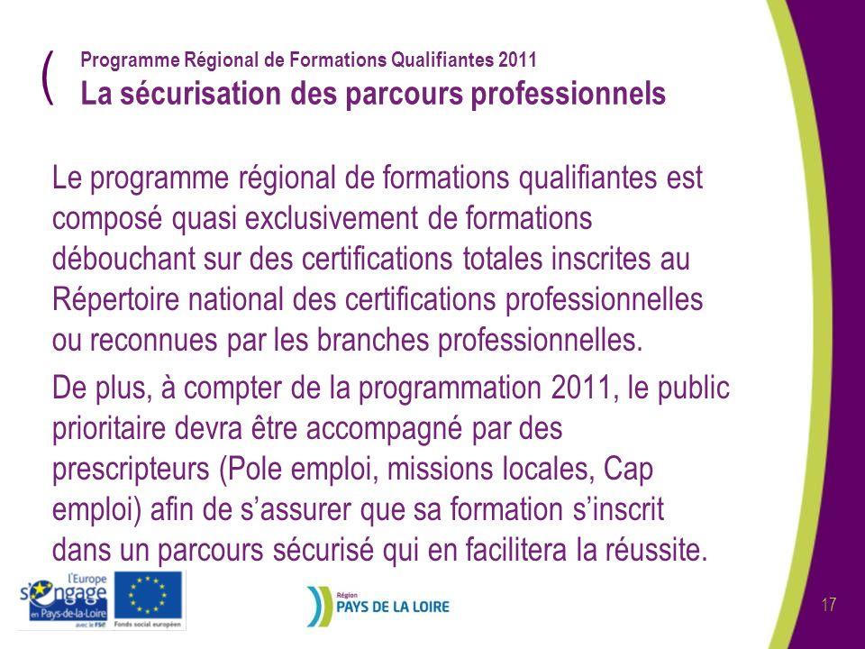 ( 17 Programme Régional de Formations Qualifiantes 2011 La sécurisation des parcours professionnels Le programme régional de formations qualifiantes est composé quasi exclusivement de formations débouchant sur des certifications totales inscrites au Répertoire national des certifications professionnelles ou reconnues par les branches professionnelles.