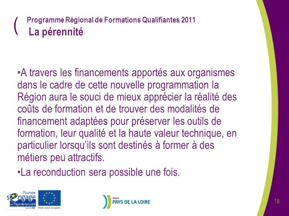 ( 18 Programme Régional de Formations Qualifiantes 2011 La pérennité A travers les financements apportés aux organismes dans le cadre de cette nouvell