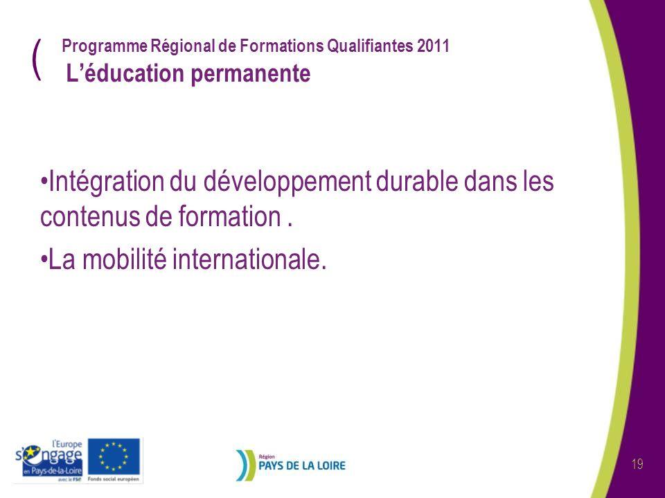 ( 19 Programme Régional de Formations Qualifiantes 2011 Léducation permanente Intégration du développement durable dans les contenus de formation. La