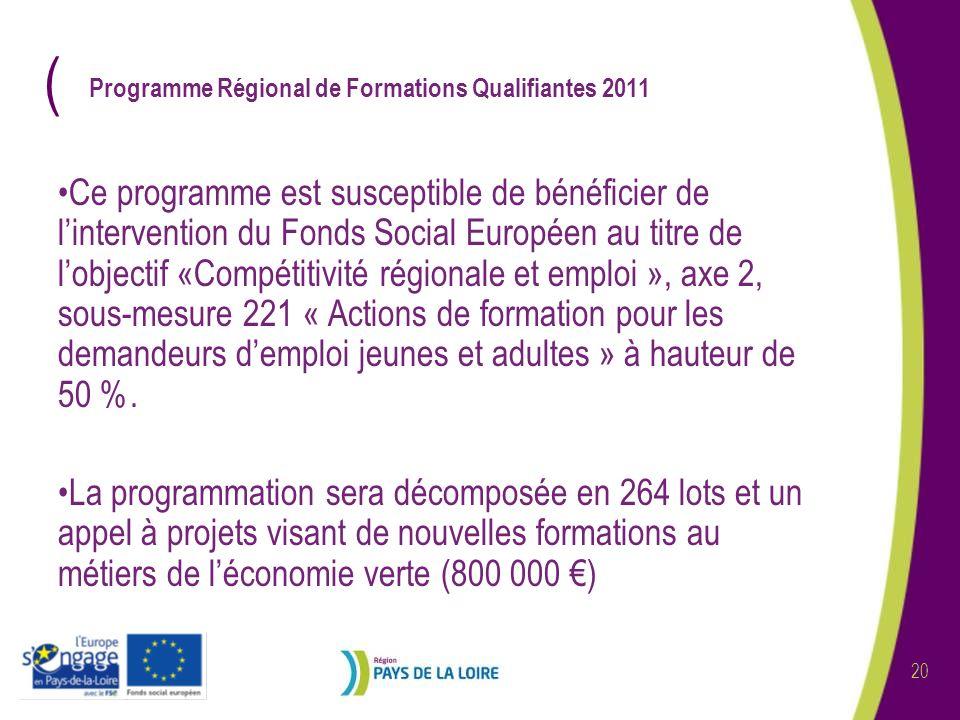 ( 20 Programme Régional de Formations Qualifiantes 2011 Ce programme est susceptible de bénéficier de lintervention du Fonds Social Européen au titre