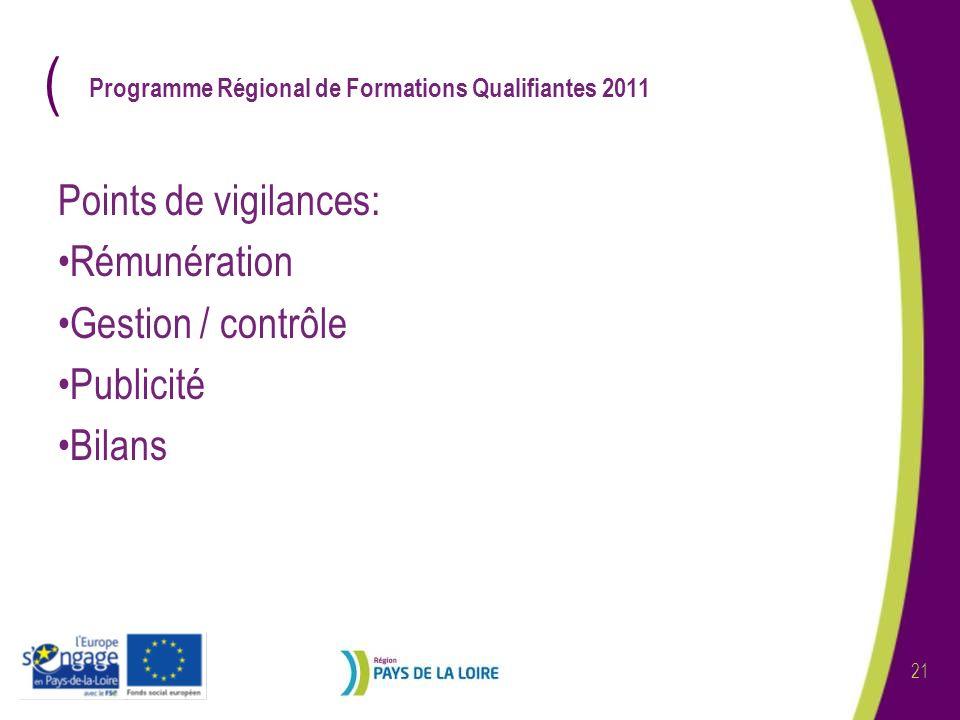 ( 21 Programme Régional de Formations Qualifiantes 2011 Points de vigilances: Rémunération Gestion / contrôle Publicité Bilans