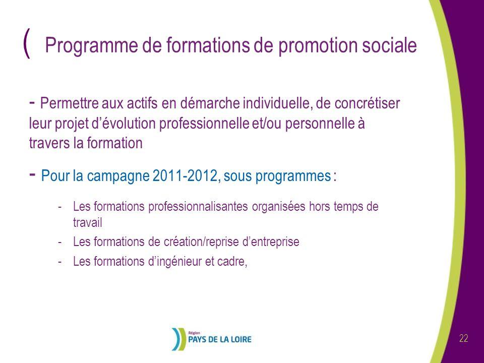 ( 22 Programme de formations de promotion sociale - Permettre aux actifs en démarche individuelle, de concrétiser leur projet dévolution professionnel