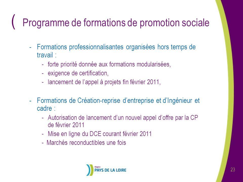 ( 23 Programme de formations de promotion sociale -Formations professionnalisantes organisées hors temps de travail : -forte priorité donnée aux forma