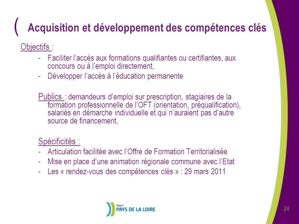 ( 24 Acquisition et développement des compétences clés Objectifs : -Faciliter laccès aux formations qualifiantes ou certifiantes, aux concours ou à le